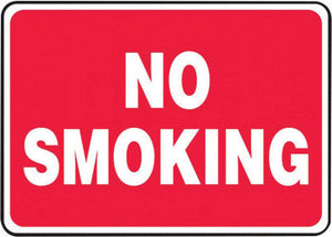 "Accuform Signs 7"" X 10"" White And Red 4 mils Adhesive Vinyl Smoking Control Sign ""NO SMOKING"""