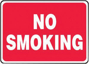 "Accuform Signs 10"" X 14"" White And Red 4 mils Adhesive Vinyl Smoking Control Sign ""NO SMOKING"""