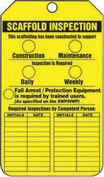 "Accuform Signs 5 3/4"" X 3 1/4"" Yellow And Black 15 mil RP-Plastic Two Sided Scaffold Status Tag ""SCAFFOLD INSPECTION THIS SCAFFOLDING HAS BEEN CONSTRUCTED TO SUPPORT"" With"
