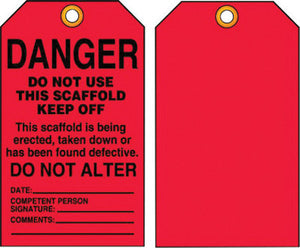 "Accuform Signs 5 3/4"" X 3 1/4"" Black And Red 10 mil PF-Cardstock English Scaffold Status Tag ""DANGER DO NOT USE THIS SCAFFOLD KEEP OFF…"" With 3/8"" Plain Hole"