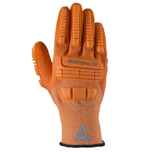 "Ansell Hi Viz Orange ActivArmr® 15 Gauge Spandex, Polyester And Nylon Cut Resistant Gloves With Knit Wrist, Kevlar® Liner, 3/4"" Dipped Neoprene And Nitrile Coating And TPR Impact Bumper"