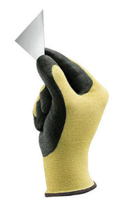 Ansell Size 11 HyFlex Light Duty Cut Resistant Black Foam Nitrile Palm Coated Work Gloves With Yellow DuPont Kevlar Liner And Knit Wrist