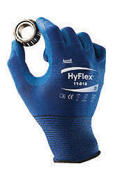 Ansell Size 8 HyFlex 18 Gauge Ultra Light Weight Multi-Purpose Dark Blue FORTIX Nitrile Foam Dipped Palm Coated Work Gloves With Blue Nylon And Spandex Liner And Knit Wrist