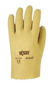 Ansell Size 7 1/2 KSR Light Duty Multi-Purpose Cut And Abrasion Resistant Tan Vinyl Fully Coated Work Gloves With Interlock Knit Liner And Slip-On Cuff