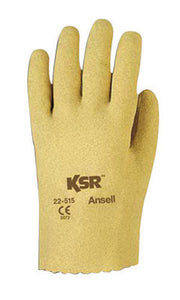 Ansell Size 8 KSR Light Duty Multi-Purpose Cut And Abrasion Resistant Tan Vinyl Fully Coated Work Gloves With Interlock Knit Liner And Slip-On Cuff