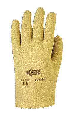 Ansell Size 9 KSR Light Duty Multi-Purpose Cut And Abrasion Resistant Tan Vinyl Fully Coated Work Gloves With Interlock Knit Liner And Slip-On Cuff