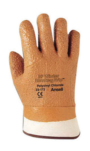 Ansell Size 10 Orange Winter Monkey Grip Textured Jersey Lined Cold Weather Gloves With Wing Thumb, Safety Cuff, Vinyl Fully Coated, Foam Insulation And Raised Finish