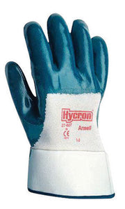 Ansell Size 9 Hycron Heavy Duty Multi-Purpose Cut And Abrasion Resistant Blue Nitrile Fully Coated Work Gloves With Jersey Liner And Knit Wrist