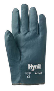 Ansell Size 10 Mens Hynit Medium Duty Multi-Purpose Cut And Abrasion Resistant Blue Nitrile Impregnated Fabric Fully Coated Work Gloves With Interlock Knit Liner And Slip-On Cuff