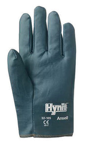 Ansell Size 7 Mens Hynit Medium Duty Multi-Purpose Cut And Abrasion Resistant Blue Nitrile Impregnated Fabric Fully Coated Work Gloves With Interlock Knit Liner And Slip-On Cuff