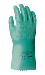 "Ansell Size 8 Green Sol-Knit 12"" Cotton Interlock Knit Lined Supported Nitrile Chemical Resistant Gloves With Rough Finish And Gauntlet Cuff"
