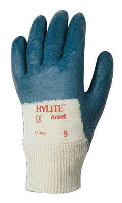 Ansell Size 7 Hylite Medium Duty Multi-Purpose Cut And Abrasion Resistant Blue Nitrile Palm Coated Work Gloves With Interlock Knit Cotton Liner And Knit Wrist