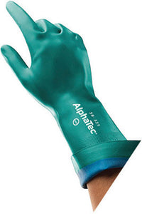 "Ansell Size 9 Sea Green AlphaTec 12"" AquaDri Nitrile Foam Lined 12/14 mil Nitrile Chemical Resistant Gloves With Gauntlet Cuff"