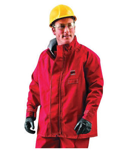 "Ansell Large Red 30"" Sawyer-Tower CPC Polyester Trilaminate Gore Fabric Chemical Protection Jacket"