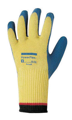 Ansell Size 8 PowerFlex Plus Heavy Duty Cut Resistant Blue Natural Rubber Latex Palm Coated Work Gloves With DuPont Kevlar Liner And Knit Wrist