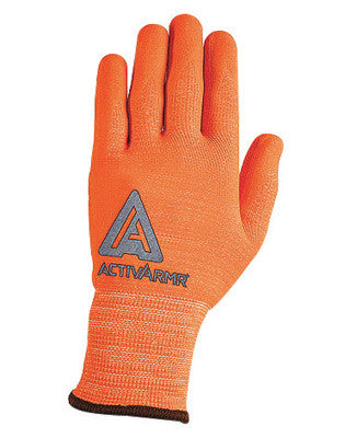 Ansell Size 10 Hi-Viz Orange ActivArmr Seamless Knit 13 gauge Medium Duty Cut Resistant Gloves With Knitwrist, Techcor Polyester Spandex Lining And Straight Thumb