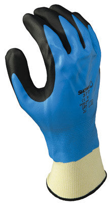 SHOWA Best Glove Size 10 Foam Grip 377 13 Gauge Oil And Chemical Resistant Black And Blue Nitrile Foam Fully Dipped Palm Coated Work Gloves With White Polyester And Nylon Liner And Elastic Knit Wrist