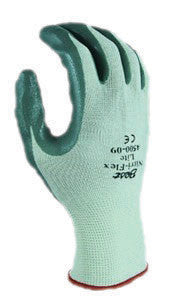 SHOWA Best Glove Size 6 Nitri-Flex Lite Dark Green Nitrile Dipped Palm Coated Work Gloves With Light Green Seamless Nylon Knit Liner And Knit Wrist