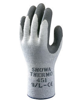 SHOWA Best Glove Size 10 Gray And Dark Gray Atlas Therma-Fit Seamless Loop-In Thermal Terry Cotton Lined Insulated Cold Weather Gloves With Elastic Cuff, Gray Latex Coated
