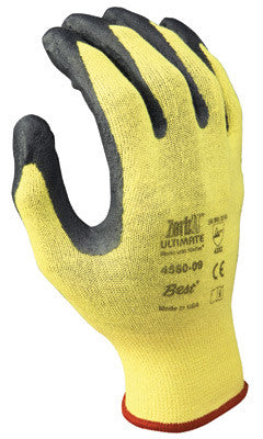 SHOWA Best Glove Size 8 Zorb-IT Ultimate Cut Resistant Gray Nitrile Dipped Palm Coated Work Gloves With Yellow Seamless Kevlar Knit Liner And Elastic Cuff