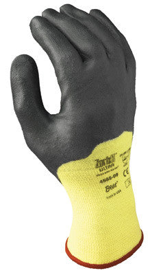 SHOWA Best Glove Size 8 Zorb-IT Ultra Cut Resistant Gray Nitrile Dipped Palm Coated Work Gloves With Yellow Seamless Aramid Knit Liner And Extended Cuff