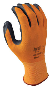 SHOWA Best Glove Size 10 Zorb-IT HV Abrasion Resistant Gray Nitrile Dipped Palm Coated Work Gloves With Hi-Viz Orange Seamless Nylon And Polyester Knit Liner And Elastic Cuff