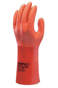 "SHOWA Best Glove Size 10 Orange Atlas 12"" Cotton Knit Lined Cotton And PVC Fully Coated Chemical Resistant Gloves With Rough And Textured Finish And Gauntlet Cuff"