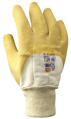 SHOWA Best Glove Size 10 The Original Nitty Gritty Cut Resistant Yellow Natural Rubber Palm Coated Work Gloves With White Cotton And Flannel Liner And Knit Wrist