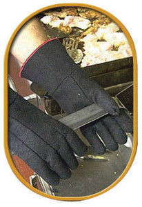 "SHOWA Best Glove Size 8 14"" Black Char-Guard Non-Woven Lined Heat Resistant Gloves Gauntlet Slip-On Cuff"