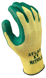 SHOWA Best Glove Size 8 Atlas 10 Gauge Cut Resistant Green Nitrile Dipped Palm Coated Work Gloves With Yellow Seamless Kevlar Knit Liner