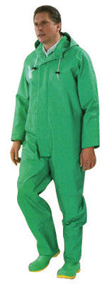 Onguard Industries Medium Green Chemtex 3.5 mil PVC On Nylon Polyester Chemical Protection Jacket With Hood Snaps