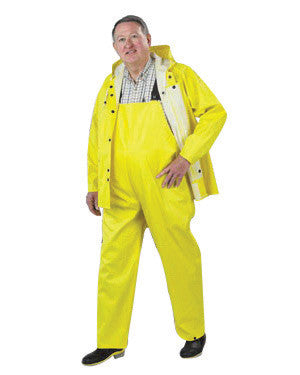 Onguard Industries Large Yellow Webtex .6500 mm PVC And Non-Woven Polyester Rain Jacket With Storm Flap Front Zipper Closure And Attached Hood