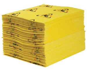 "Brady 15"" X 19"" SPC Yellow 1-Ply Meltblown Polypropylene Dimpled Perforated Full Size Heavy Weight Sorbent Pad"