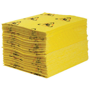 "Brady 15"" X 19"" SPC Yellow 1-Ply Polypropylene Perforated Heavy Weight Sorbent Pad, Perforated Every 7.5"""