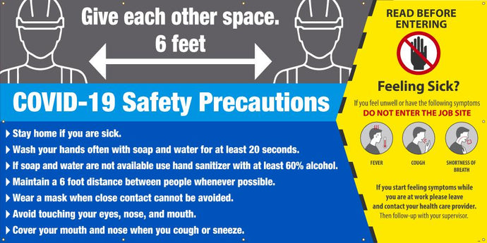 COVID-19 SAFETY PRECAUTIONS BANNER 6' X 12'