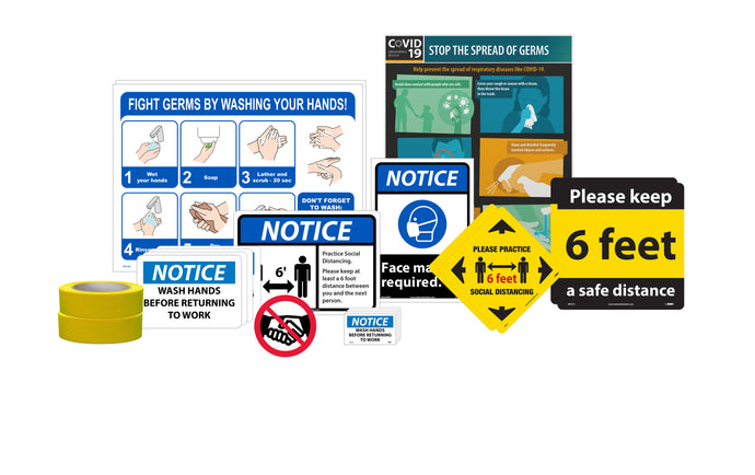 BACK TO WORK KIT, INCLUDES VARIETY OF COVID-19 RELATED SIGNAGE AND IDENTIFICATION PRODUCTS FOR SMALL BUSINESS