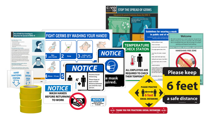 BACK TO WORK KIT, INCLUDES VARIETY OF COVID-19 RELATED SIGNAGE AND IDENTIFICATION PRODUCTS FOR LARGE BUSINESS