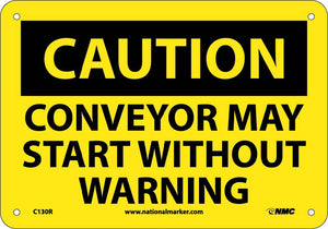 Caution Conveyor May Start Warning Sign