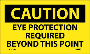 Caution Eye Protection Required Beyond This Point Sign - 5 Pack