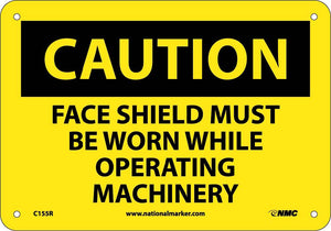 Caution Face Shield Protection Sign