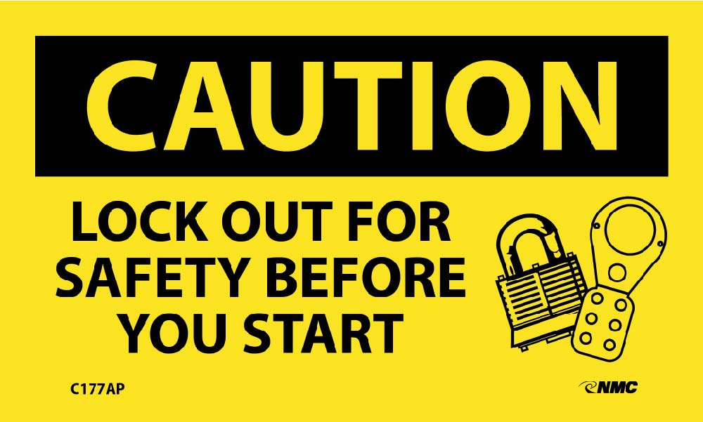 Caution Lock Out For Safety Before You Start Label - 5 Pack