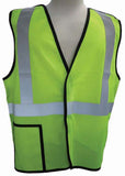 3A Safety - Five-point Breakaway ANSI Class II Safety Vest Lime Color Size X-large
