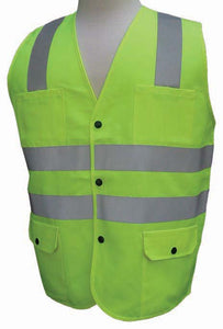 3A Safety - ANSI Certified Polyester Safety Vest - Solid/Mesh Lime Color Size XX-large