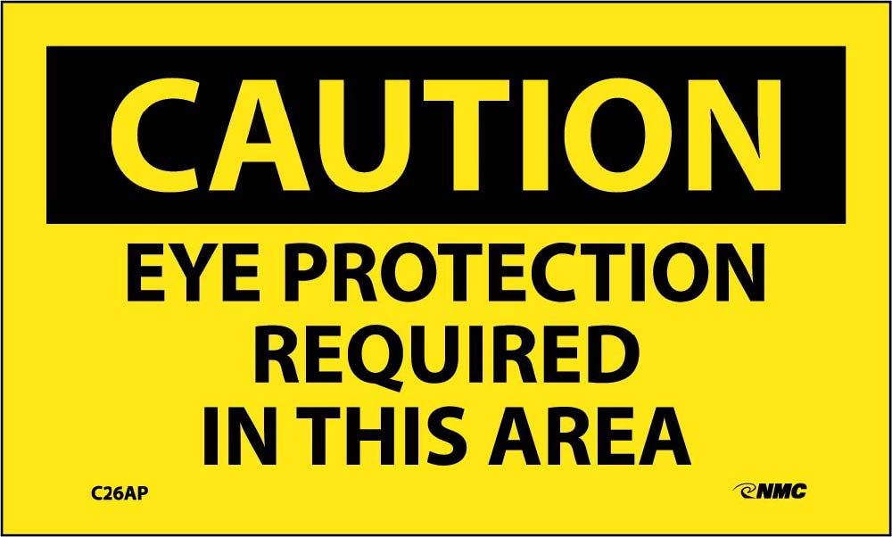 Caution Eye Protection Required In This Area Label - 5 Pack