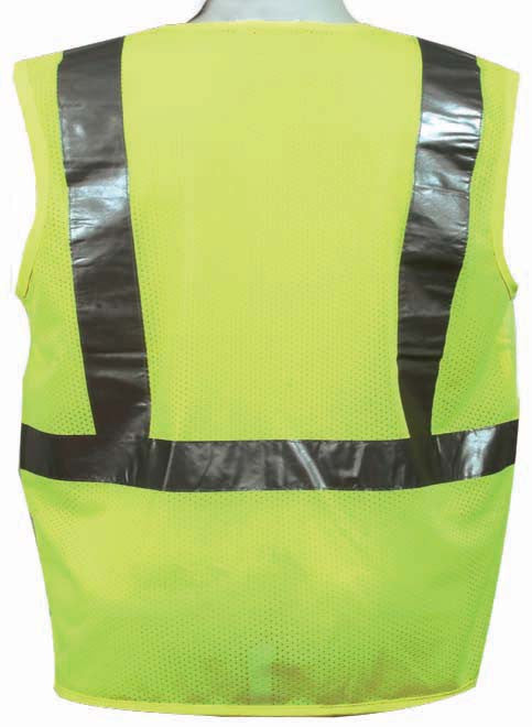 3A Safety - ANSI Certified Safety Vest - fabric front/mesh back Lime Color Size 5X-Large