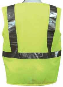 3A Safety - ANSI Certified Safety Vest - fabric front/mesh back Lime Color Size Large