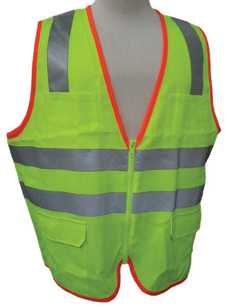 3A Safety - ANSI Certified Safety Vest with Contrasting Outline Lime Color Size Large