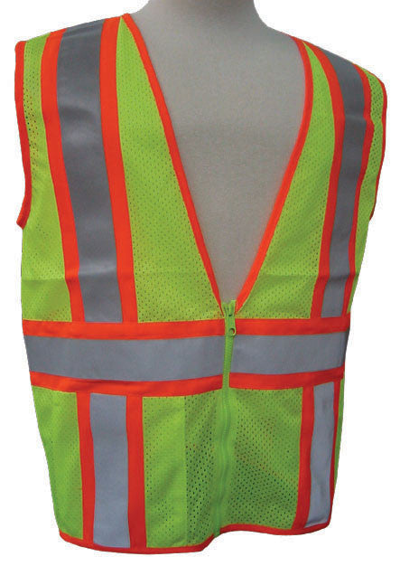 3A Safety - ANSI Certified Mesh Flagger Safety Vest Lime Color Size Medium