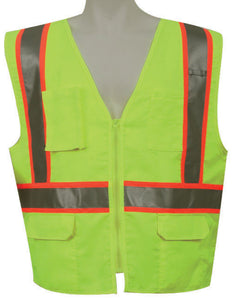 3A Safety - ANSI Certified Multi-pocket Safety Vest Lime Color Size XX-large