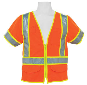 3A Safety - ANSI Class III Solid Multi-pocket Vest with Sleeves Orange Color Size 3X-large